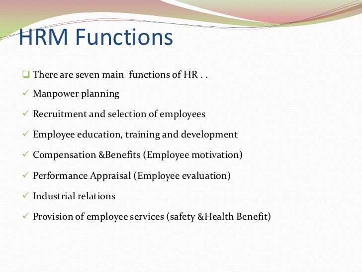 Overview Of Human Resource Management System  Function