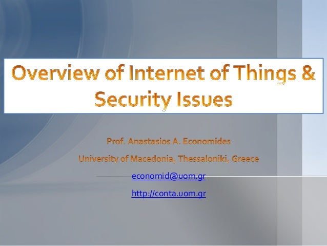 an overview of the internet security issues This paper is a general survey of all the security issues existing in the internet of things (iot) along with an analysis of the privacy issues that an end-user may face as a consequence of the spread of iot.