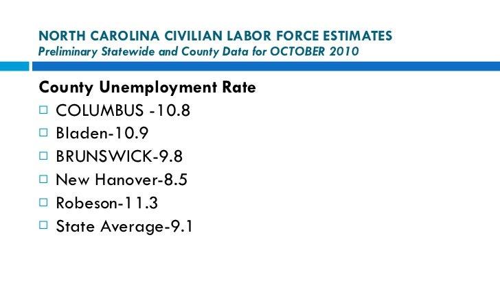 NORTH CAROLINA CIVILIAN LABOR FORCE ESTIMATES Preliminary Statewide and County Data for OCTOBER 2010 <ul><li>County Unempl...