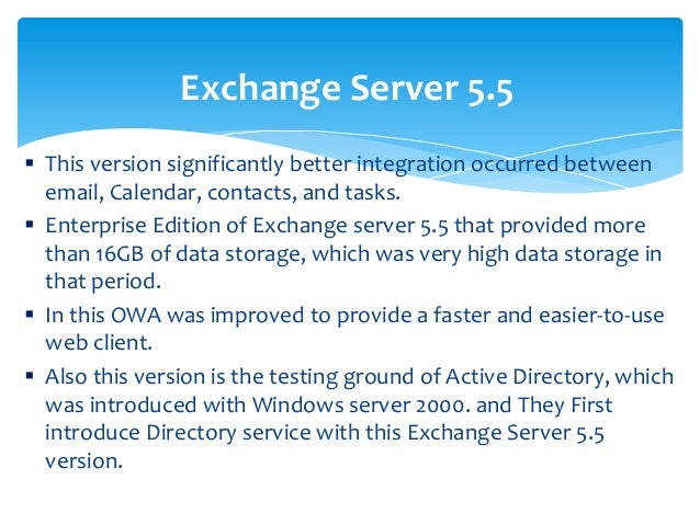 Overview of Microsoft Exchange Server