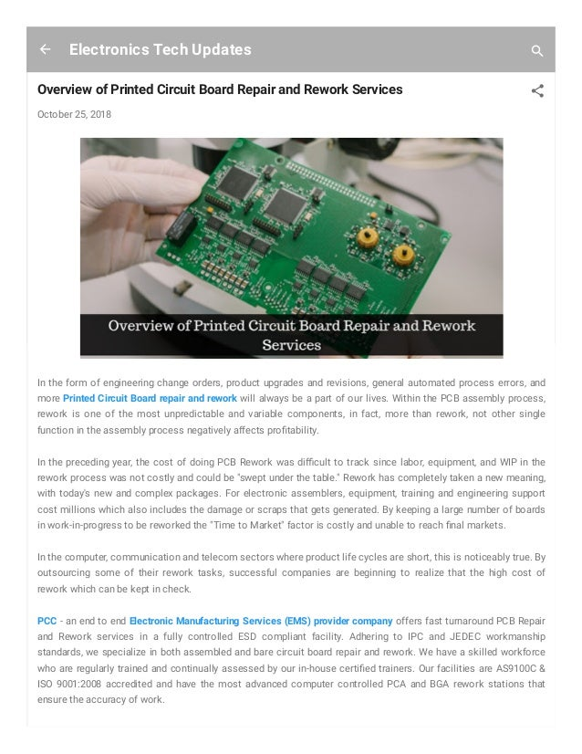 Overview of printed circuit board repair and rework services