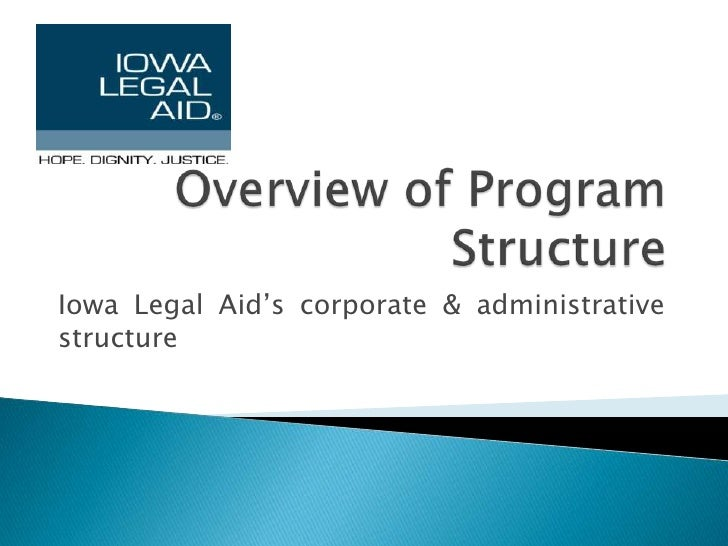 Overview of Program Structure<br />Iowa Legal Aid's corporate & administrative structure<br />