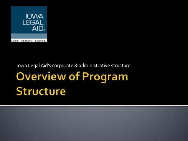 Iowa Legal Aid's corporate & administrative structure