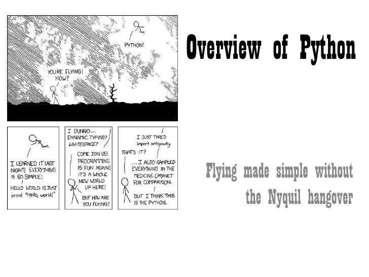 Overview of Python  Flying made simple without         the Nyquil hangover
