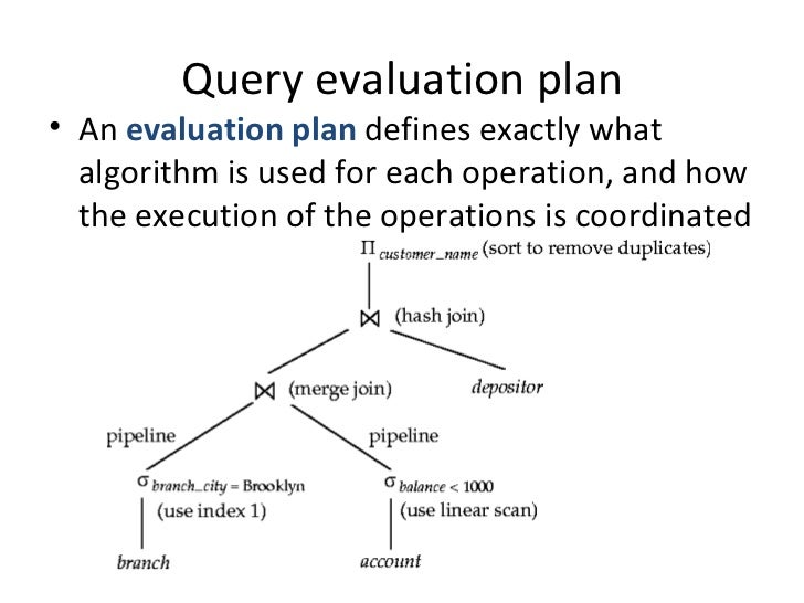 Overview of query evaluation – Evaluation Plan