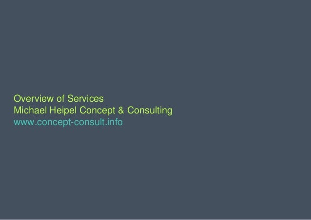 Overview of Services Michael Heipel Concept & Consulting www.concept-consult.info