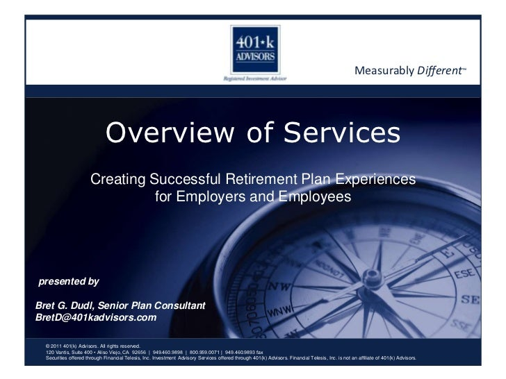401(k) Advisors Overview Of Services