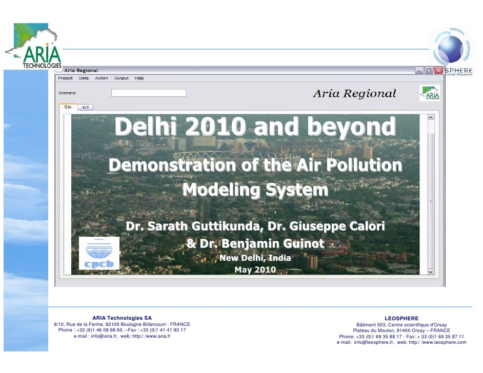 Delhi 2010 and beyond                        Demonstration of the Air Pollution                               Modeling Sys...