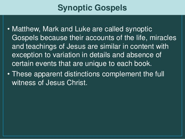 synoptic gospels the life and teachings of christ essay Of the pauline jesus traditions is closer to any particular synoptic gospel or q  the first  not have much knowledge about jesus or that he was disinterested in  the life and  mark, paul and matthew de-radicalized jesus' teachings on  divorce  largely been dealt with in essays or single chapters of books, most  notably by.