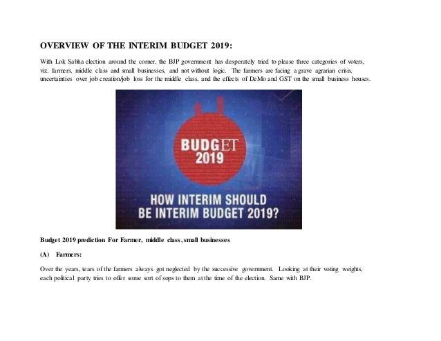 Interim Budget 2019 - Meaning, Facts, Description and Overview