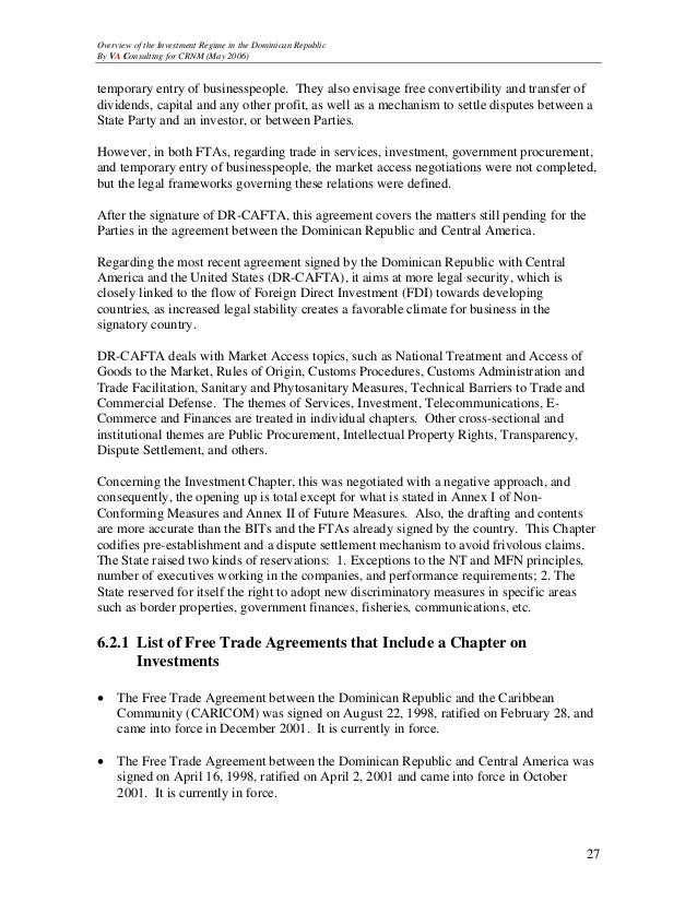 Crnm Overview Of The Investment Regime In The Dominican Republic