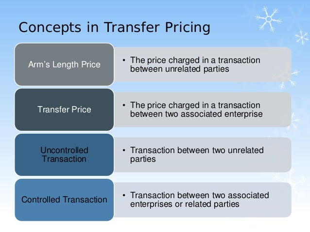 transfer price A very simple example of transfer pricing is as follows: parentco, a fictional us based pen company, manufactures pens in the us at the cost of 10 cents per pen parentco's canadian subsidiary, subco, sells the pens to canadian customers f.