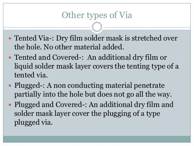 12. Other types of Via ? Tented ...  sc 1 st  SlideShare & Overview of vias