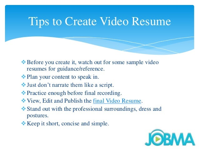How To Create A Successful Video Resume SlideShare