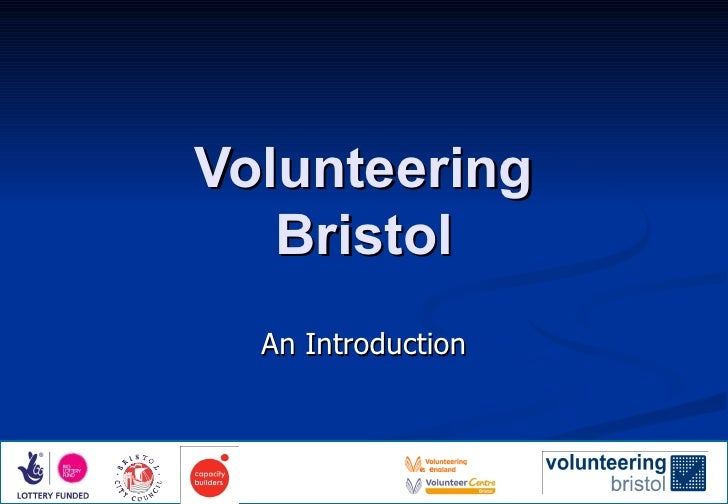 Volunteering Bristol An Introduction