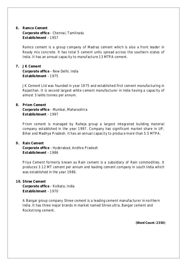 cement industry overview