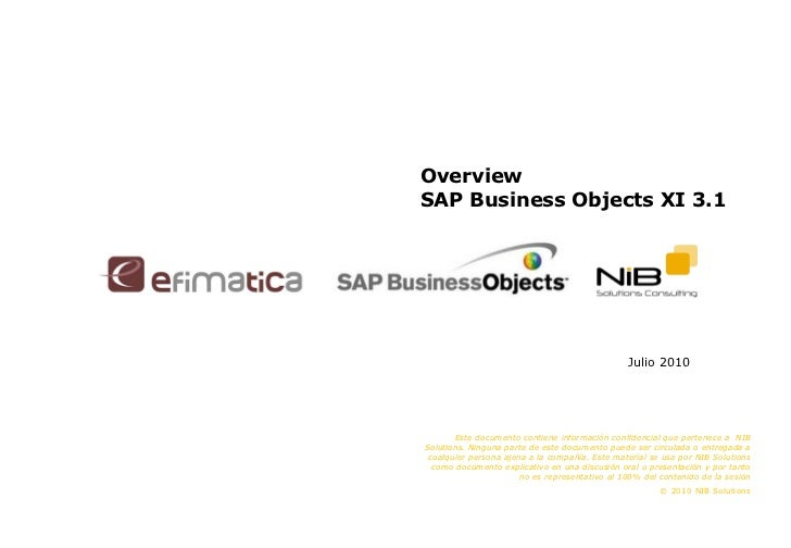 Overview  SAP Business Objects XI 3.1 Julio 2010