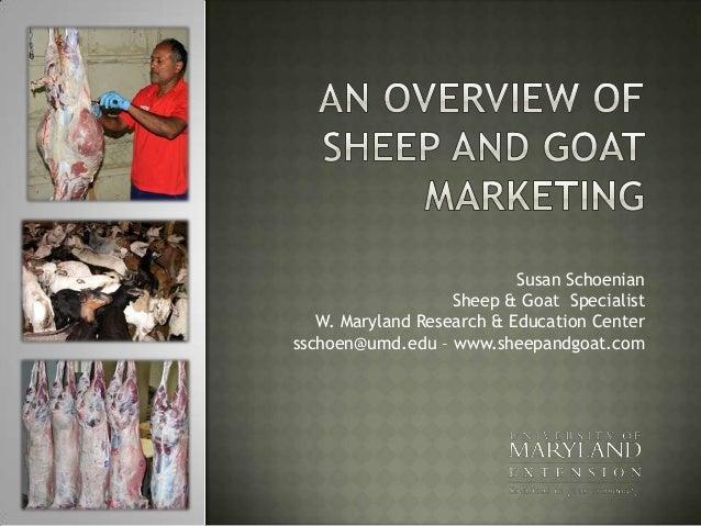 Susan Schoenian Sheep & Goat Specialist W. Maryland Research & Education Center sschoen@umd.edu – www.sheepandgoat.com