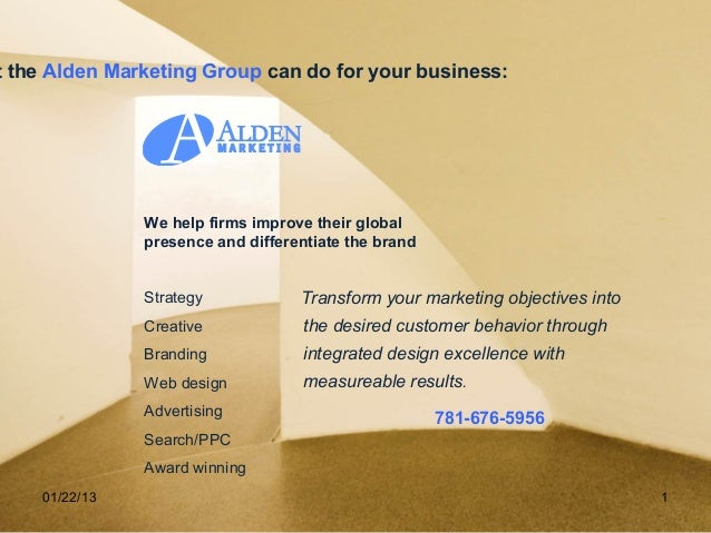 t the Alden Marketing Group can do for your business:               We help firms improve their global               prese...