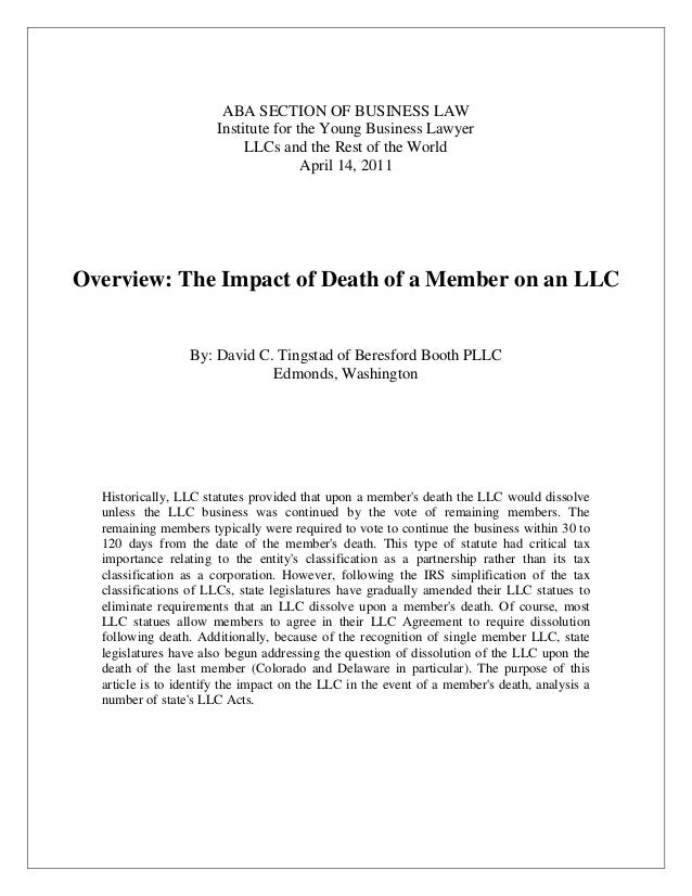 ABA SECTION OF BUSINESS LAW Institute for the Young Business Lawyer LLCs and the Rest of the World April 14, 2011  Overvie...