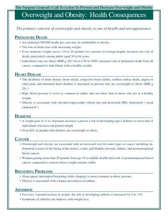 The Surgeon General's Call To Action To Prevent and Decrease Overweight and ObesityOverweight and Obesity: Health Conseque...