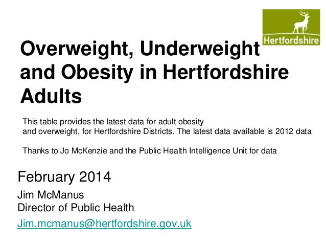 Overweight, Underweight and Obesity in Hertfordshire Adults This table provides the latest data for adult obesity and over...