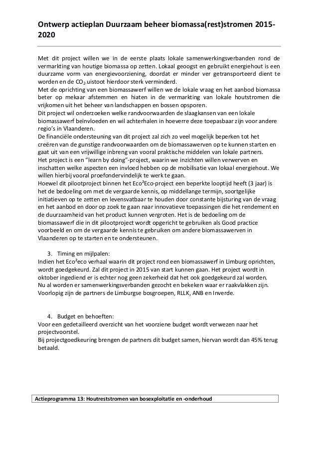 Overzicht planningsfiches ontwerp actieplan biomassa rest stromen - Opsporen ontwerp ...