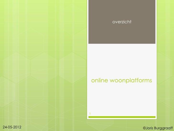 overzicht                 online woonplatforms             124-05-2012                         ©Joris Burggraaff
