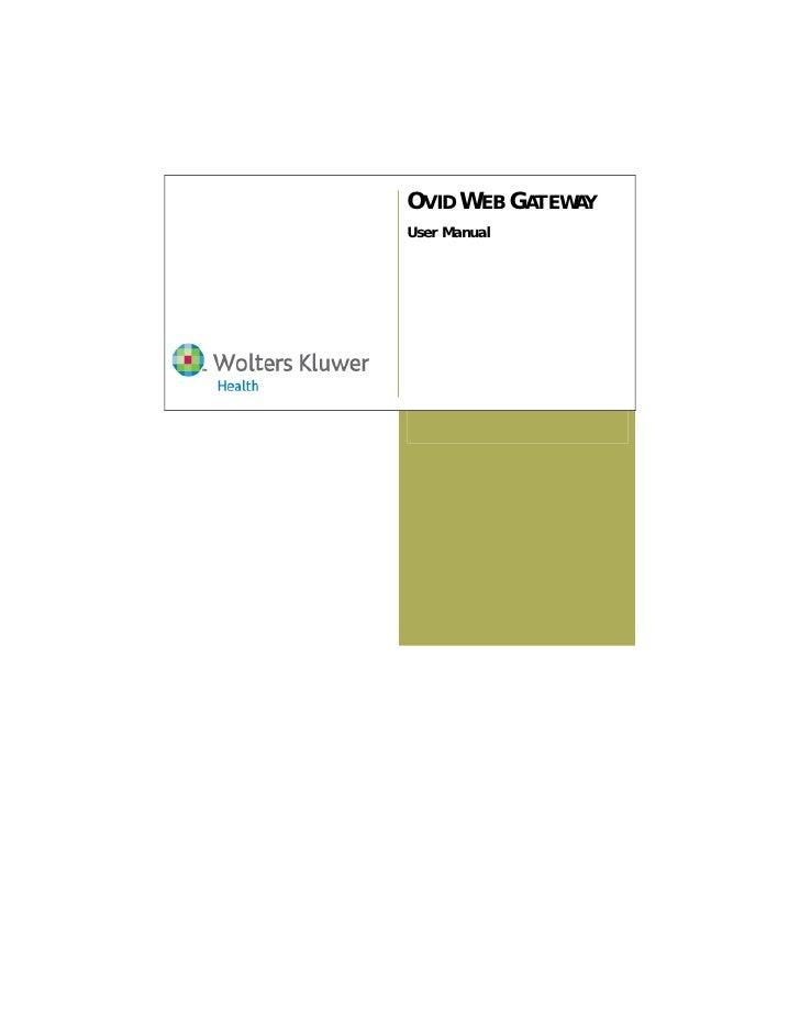 OVID WEB GATEWAY User Manual