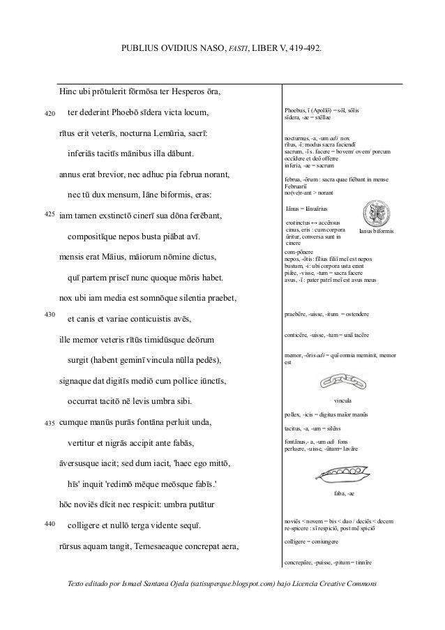 PUBLIUS OVIDIUS NASO, FASTI, LIBER V, 419-492. 420 425 430 435 440 Hinc ubi prōtulerit fōrmōsa ter Hesperos ōra, __ter ded...