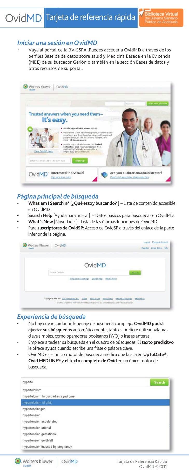 Tarjeta de referencia rápidaIniciar una sesión en OvidMD•   Vaya al portal de la BV-SSPA .Puedes acceder a OvidMD a través...