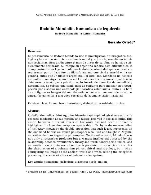 Rodolfo Mondolfo, humanista de izquierda Rodolfo Mondolfo, a Leftist Humanist Gerardo Oviedo*Gerardo Oviedo*Gerardo Oviedo...