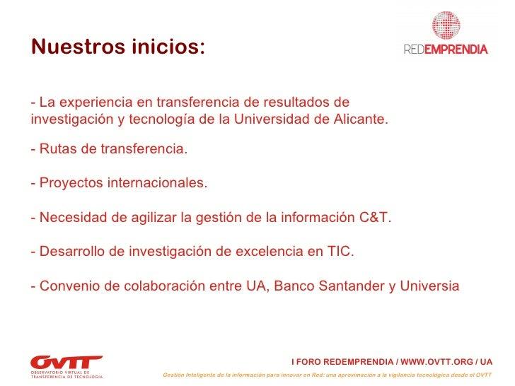 """III Sesión del Foro RedEmprendia: """"Aproximación a la vigilancia tecnológica desde el OVTT"""" Slide 3"""