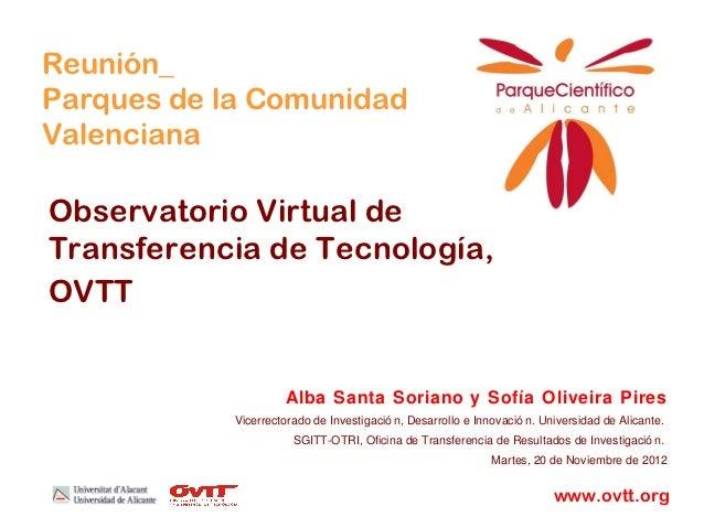 Reunión_Parques de la ComunidadValencianaObservatorio Virtual deTransferencia de Tecnología,OVTT                      Alba...