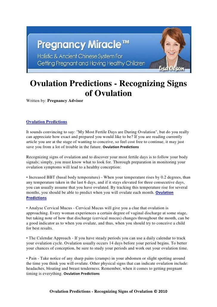 Ovulation predictions recognizing signs of ovulation