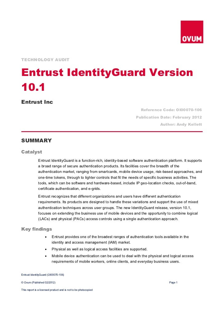 TECHNOLOGY AUDITEntrust IdentityGuard Version10.1Entrust Inc                                                              ...