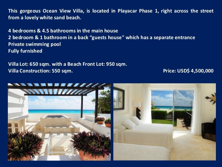 This gorgeous Ocean View Villa, is located in Playacar Phase 1, right across the streetfrom a lovely white sand beach.4 be...