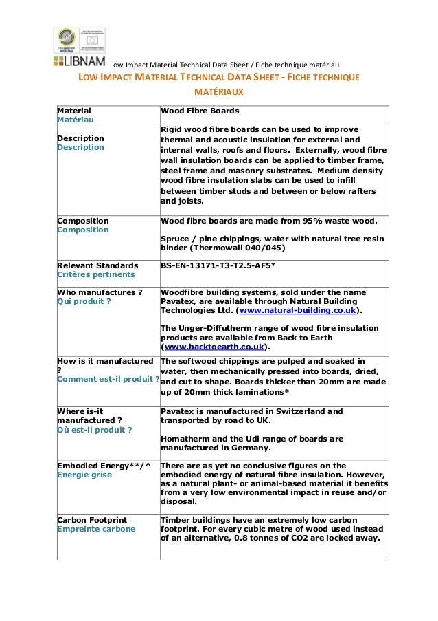 Low Impact Material Technical Data Sheet Wood Fibre Board