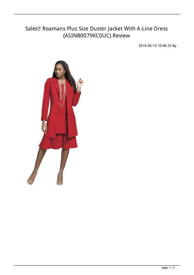 Sales!! Roamans Plus Size Duster Jacket With A-Line Dress (ASINB0079KC0UC) Review 2014-05-10 10:46:33 By . page 1 / 3