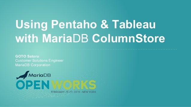 Using Pentaho with MariaDB ColumnStore