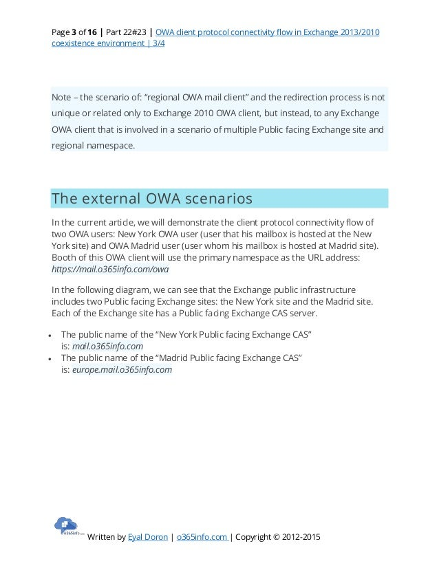 Owa Client Protocol Connectivity Flow In Exchange 2013 2010 Coexi