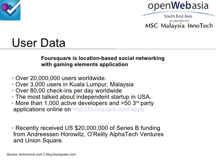 User Data Foursquare is location-based social networking with gaming elements application <ul><li>Over 20,000,000 users wo...
