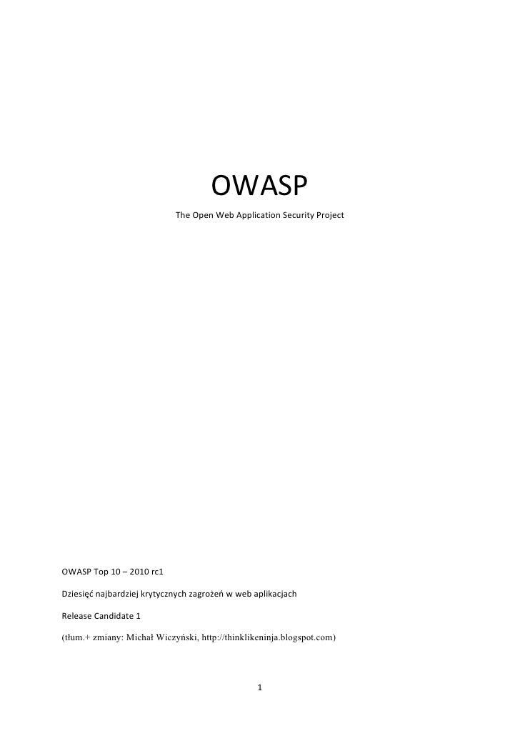 OWASP                                                The  O...