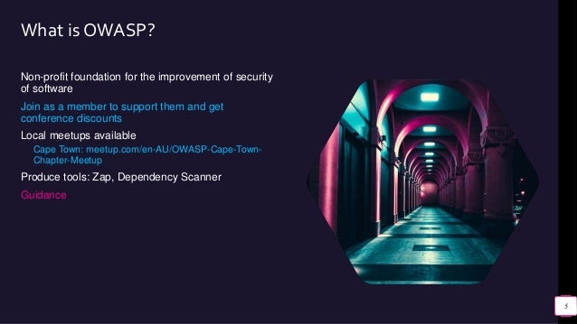 What is OWASP? Non-profit foundation for the improvement of security of software Join as a member to support them and get ...