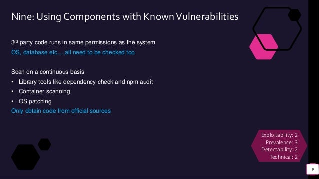 Nine: Using Components with KnownVulnerabilities 3rd party code runs in same permissions as the system OS, database etc… a...