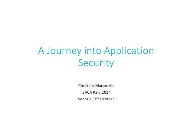 A  Journey  into  Application   Security Christian  Martorella ISACA  Italy  2014 Venezia,  3rd October