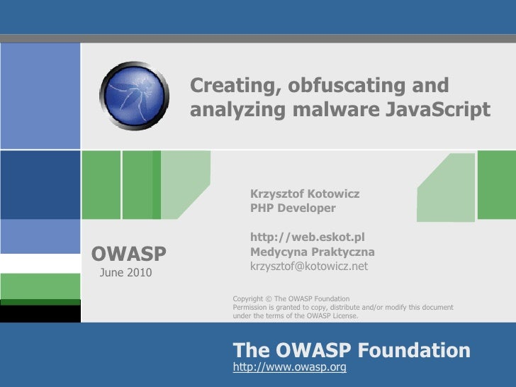 Creating, obfuscating and analyzing malware JavaScript