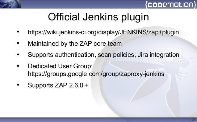 2017 Codemotion OWASP ZAP in CI/CD