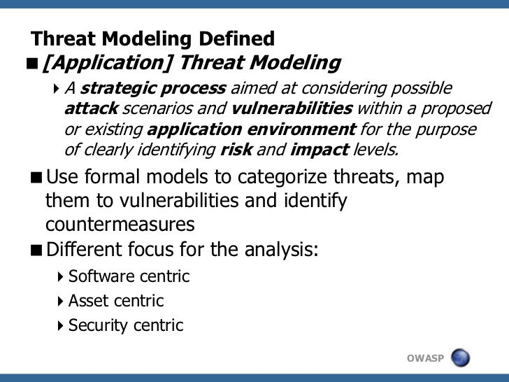 Threat Modeling Defined[Application] Threat Modeling  A strategic process aimed at considering possible    attack scenar...