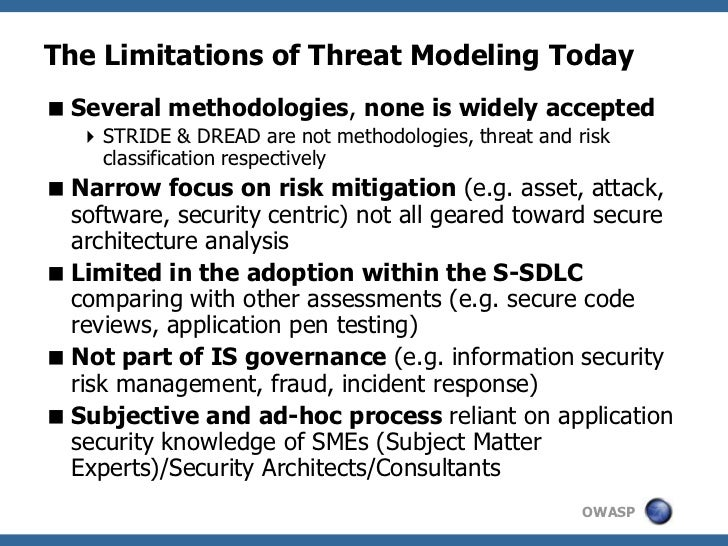 The Limitations of Threat Modeling Today Several methodologies, none is widely accepted    STRIDE & DREAD are not method...